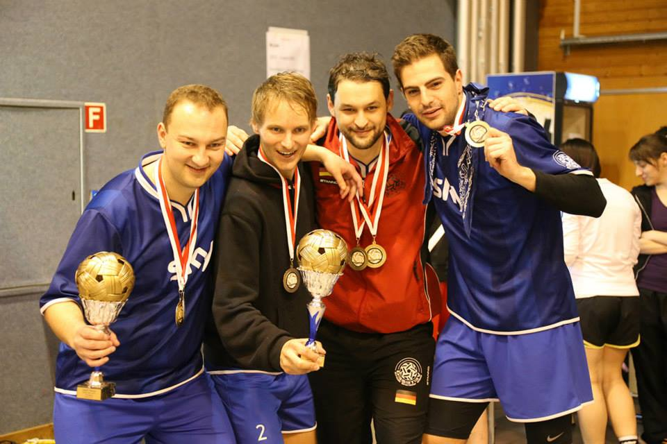 Germany's Elmshorn (2) with their hard-won gold medals